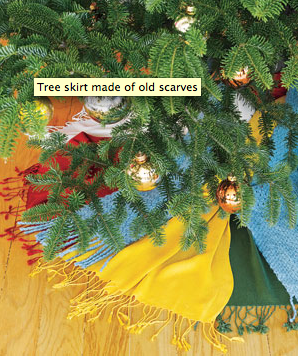 This one is so simple, it's barely do-it-yourself... more like done-for-you. There is no sewing or even cutting involved-- just lay scarves around the base of the tree and secure with safety pins. I think I'd use scarves in the same color family. Can't get easier than that!