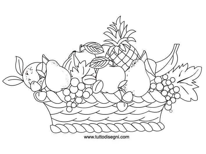Frutta Cesto Ricamo Pinterest Fruit Coloring Pages Coloring