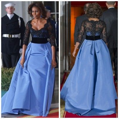 First Lady Of Style, Michelle Obama Rocks Designer Carolina Herrera - at the State Dinner for the President of France