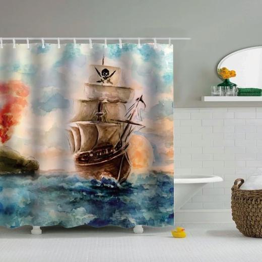 Classic Schooner Fabric Shower Curtain In 2020 Nautical Shower