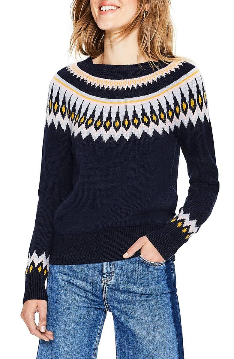 Boden Wool Cotton Alpaca Fair Isle Sweater Sweaters