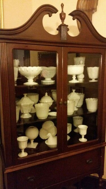 Grandma's milk glass collection that I've added to