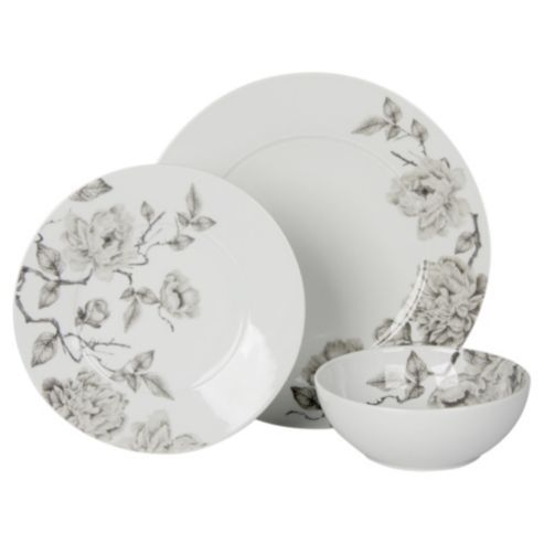 Buy Grey Floral Dinner Set 12 Piece 4 Person Porcelain from our Dinner Sets range at Tesco direct.  sc 1 st  Pinterest & Monochrome Floral Plate crockery set   My dream kitchen would have ...