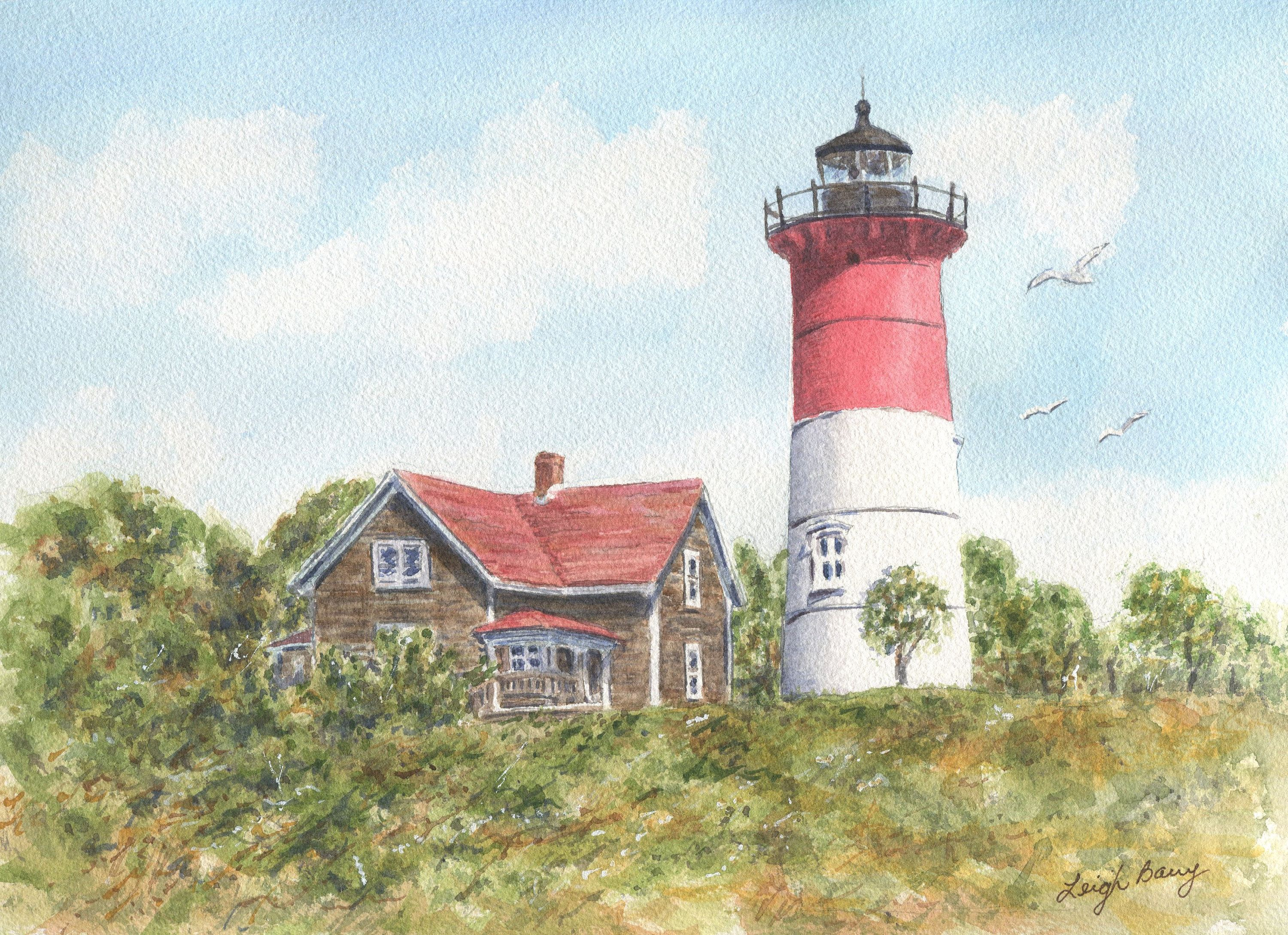 Nauset Light Cape Cod Watercolor Original Nautical Art Lighthouse
