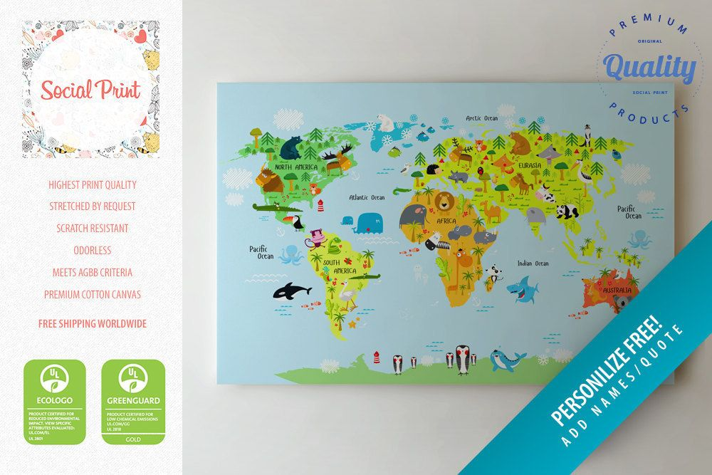 Animal world map canvas print free shipping for kids and animal world map canvas print free shipping for kids and children canvas art gumiabroncs Images