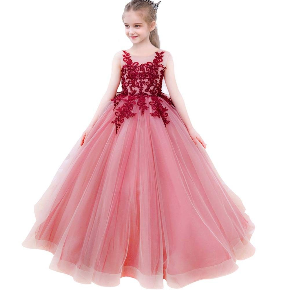 Flower Girl Lace Dress Embroidery Pageant First Communion Dress