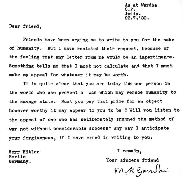 GandhiS Letter To Hitler Never Reached Its Intended Recipient