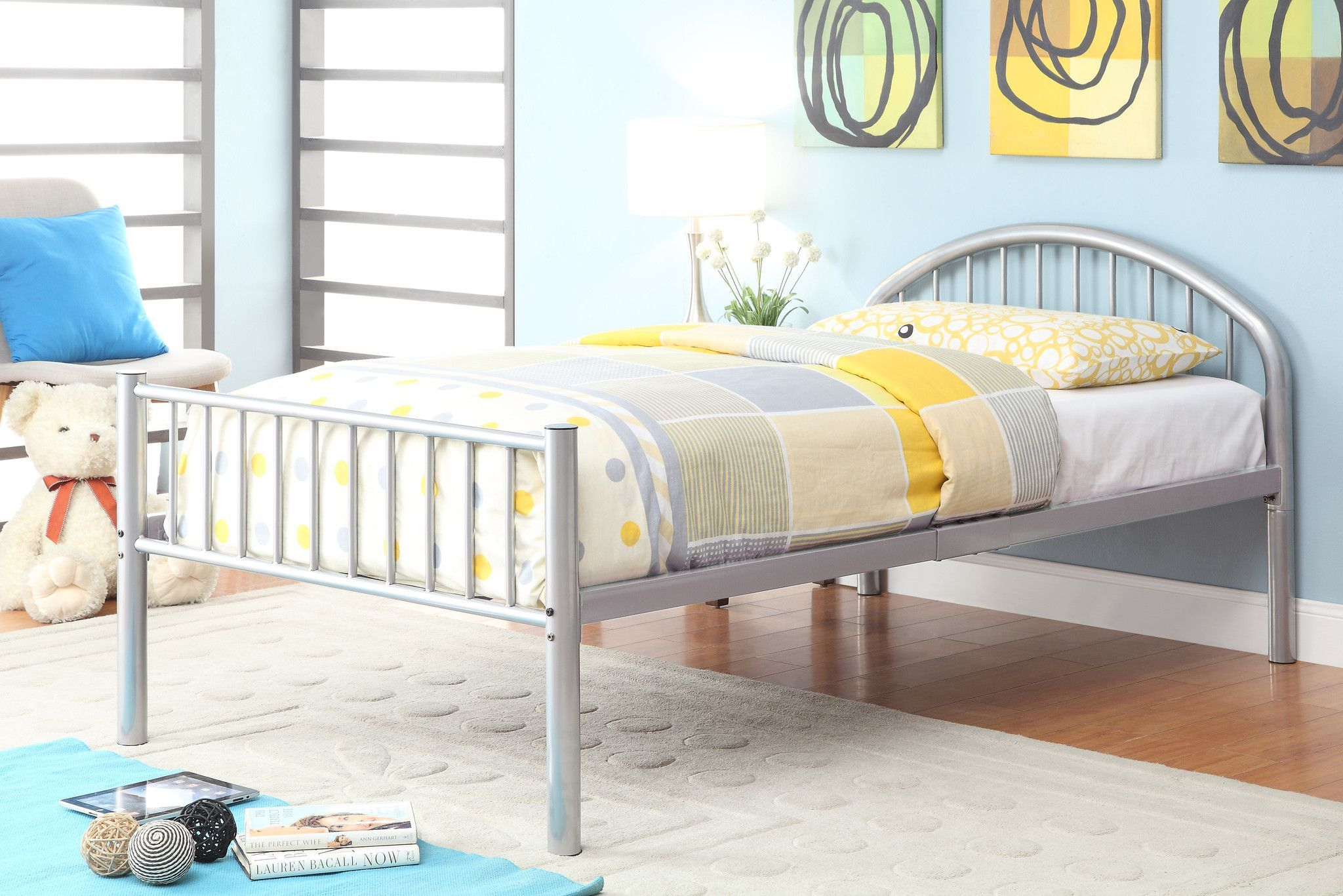 Alloway Contemporary Twin Bed in Silver Furniture, Bed