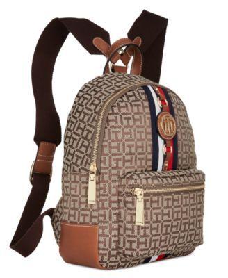 0c79c540c2f Tommy Hilfiger Jaden Monogram Jacquard Small Backpack - Navy   White