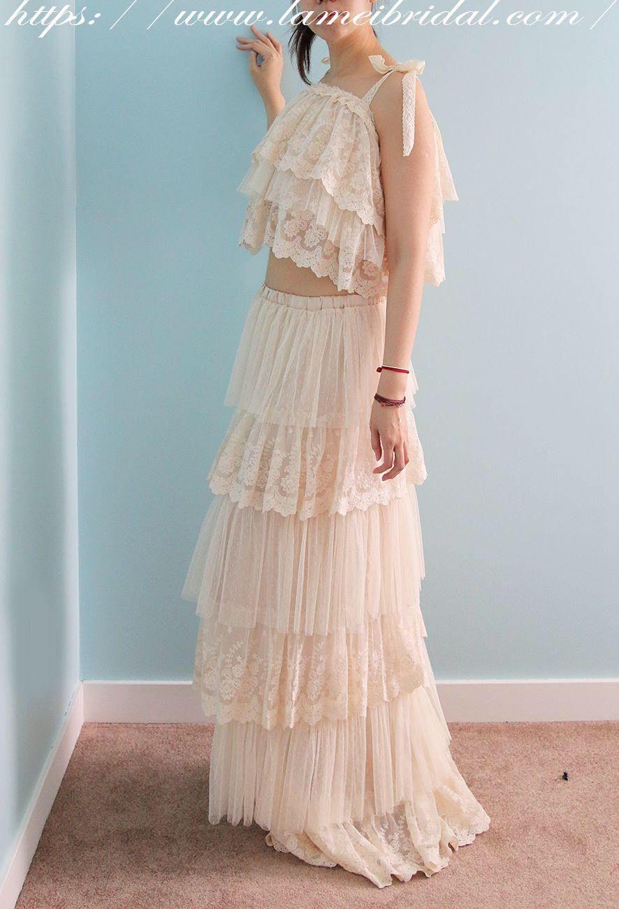 Handmade Boho Wedding dress, 2 Piece Bridal lace dress, Lace Beach ...
