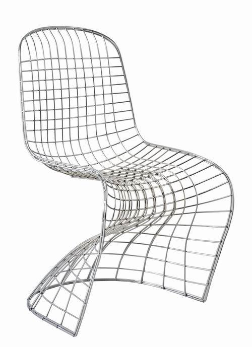 Herité de Verner Panton et Harry Bertoia et édité par Le Pelican Edition  / Pantoia / date de création : année 2000 / Matériaux : fil de fer .