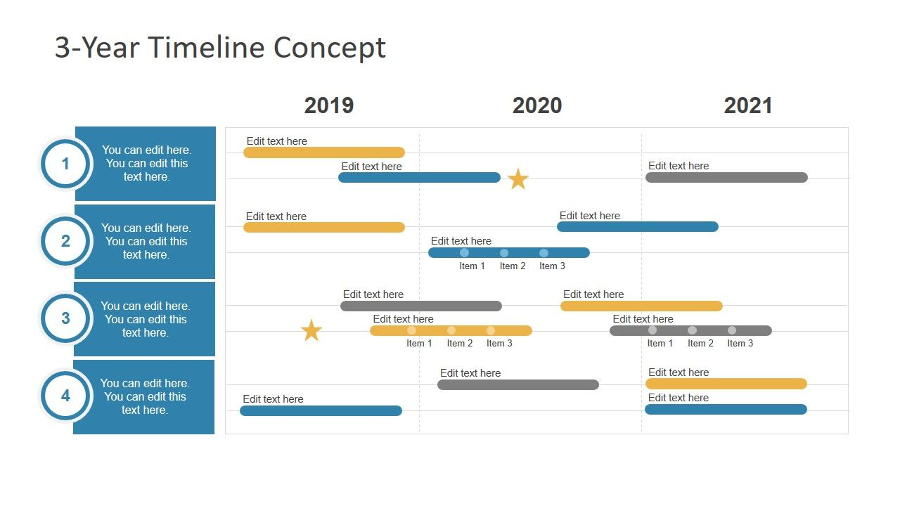 3 Year Timeline Concept For Powerpoint Project Management