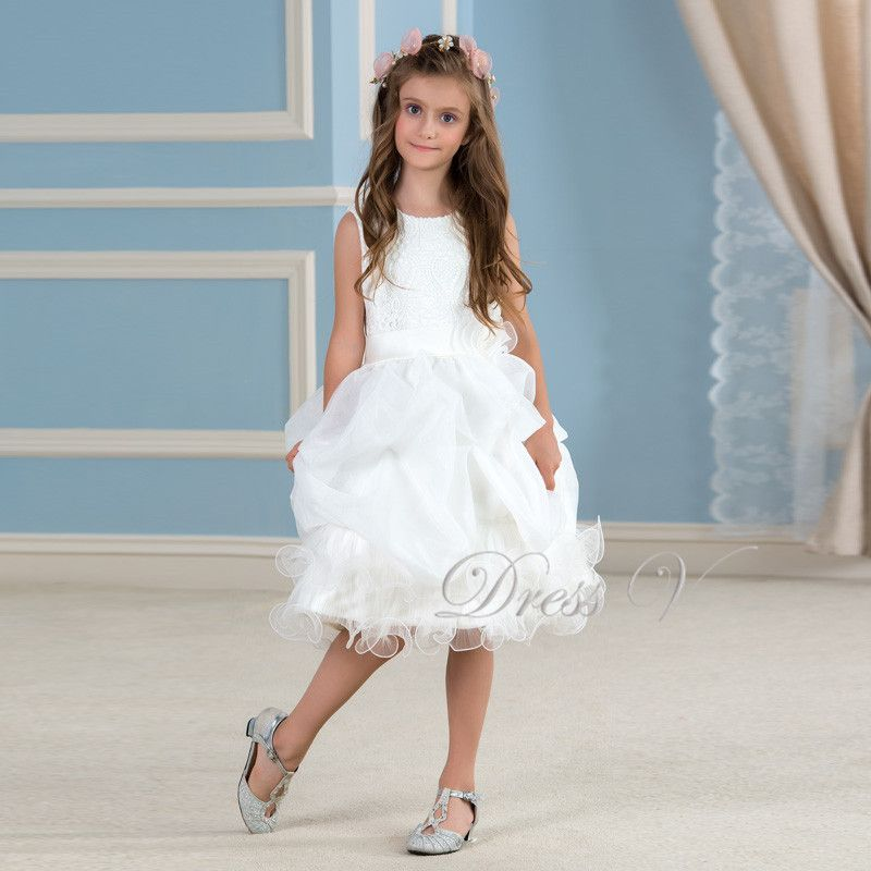 aadf6c73db Cute White Lace Tutu Flower Girl Dresses Knee Length Ivory Holy Communion Dress  Girls Pageant Wedding Party Gowns Frock Designs-in Flower Girl Dresses from  ...