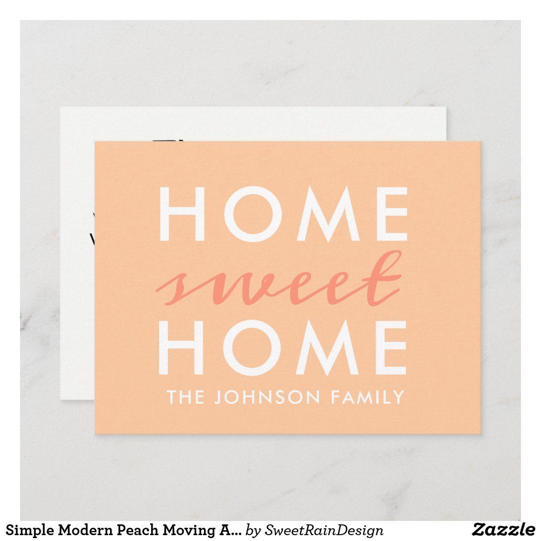 Simple Modern Peach Moving Announcement Postcard Zazzle
