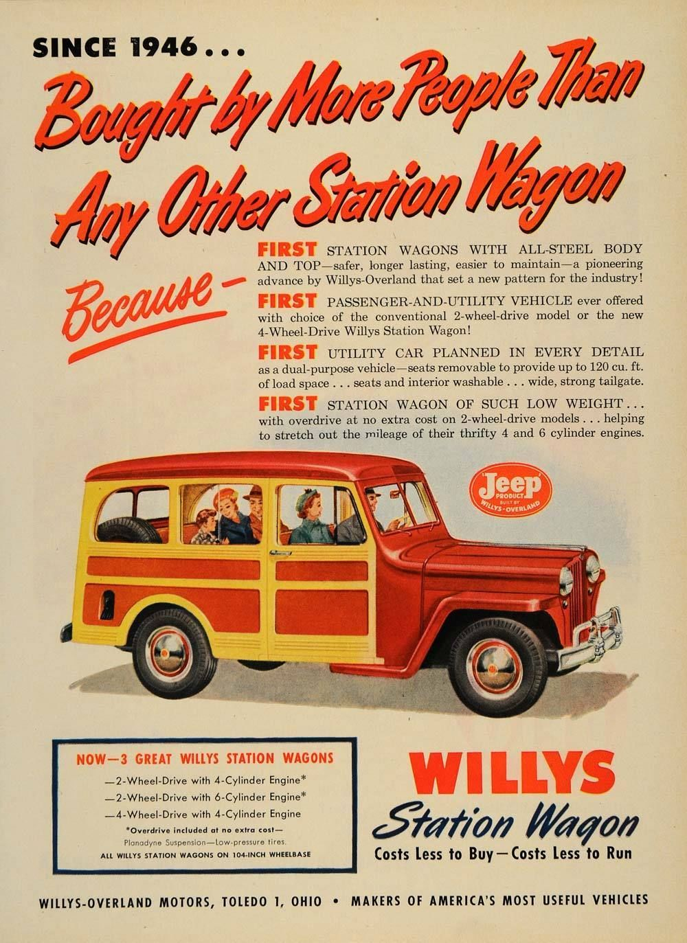 1950 Ad Willys-Overland Vintage Station Wagon Jeep - ORIGINAL ...