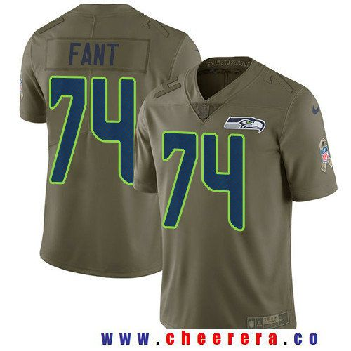 Men's Seattle Seahawks #74 George Fant Black Anthracite 2016 Salute To Service Stitched NFL Nike Limited Jersey