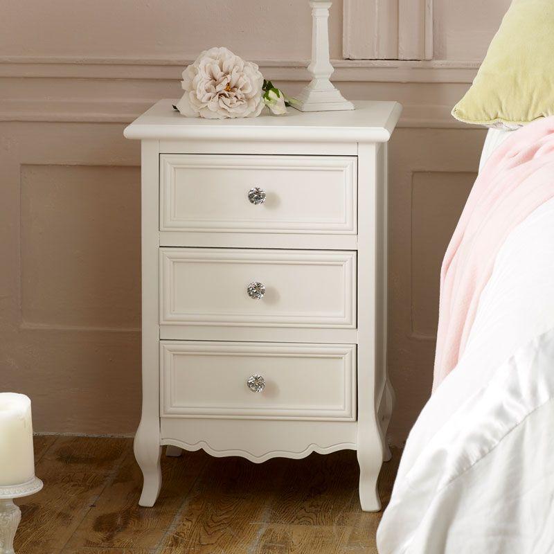 White 3 Drawer Bedside Table Victoria Range White Bedside