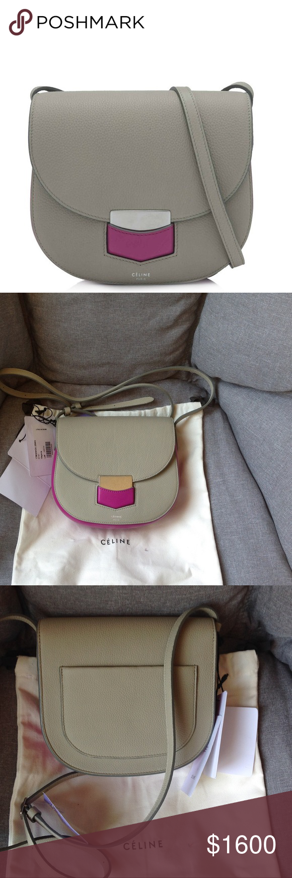 39ac9661c Celine trotteur small shoulder bag Céline Small Trotteur Bag (Grey, Pink; Calfskin  Leather