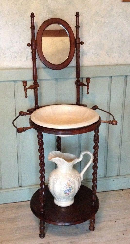 Vintage Woodenware Wash Basin Stand W Mirror Ceramic Matching