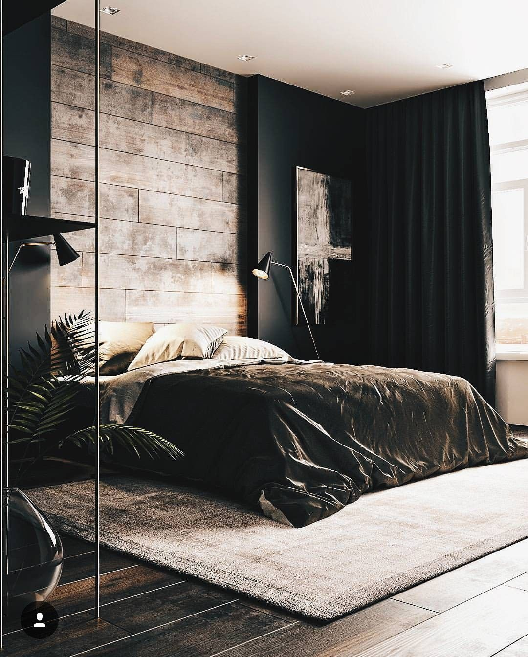 A Dark Cozy Moody Masculine Bedroom Wood Black Walls Black