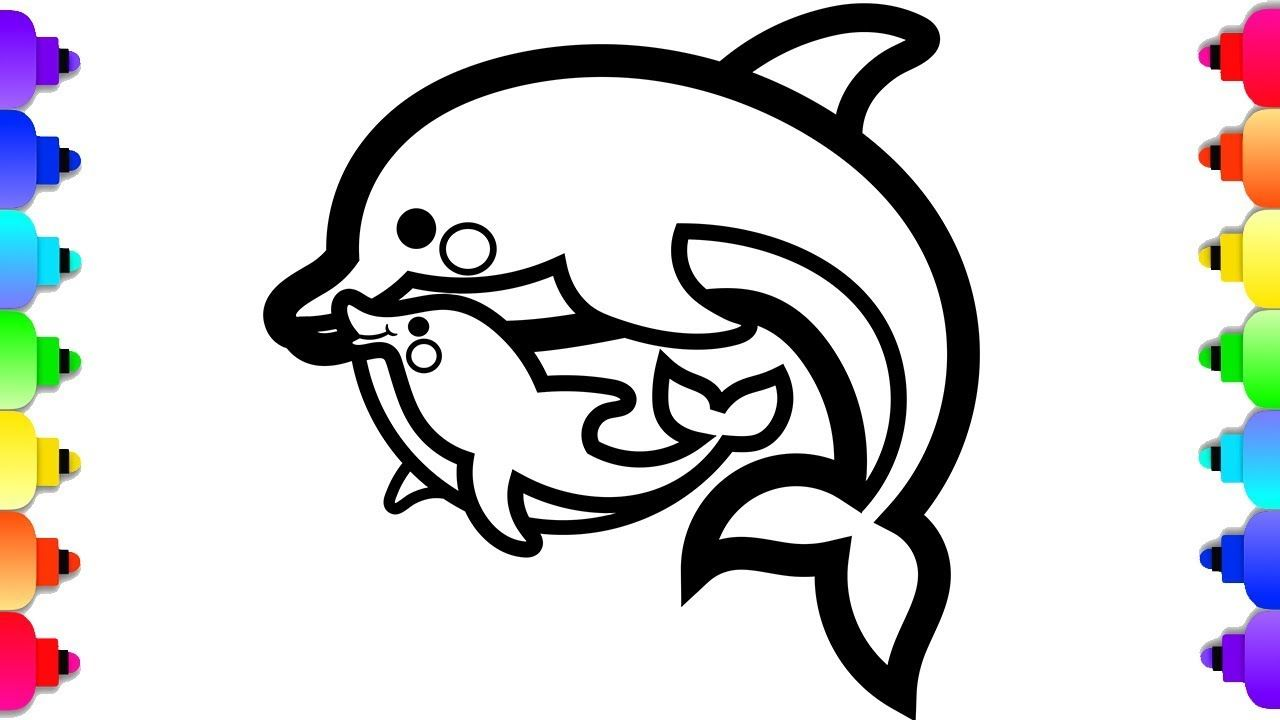 Glitter Baby Dolphin And Mommy Dolphin Drawing And Coloring For Kids To Dolphin Coloring Pages Zoo Animal Coloring Pages Shark Coloring Pages
