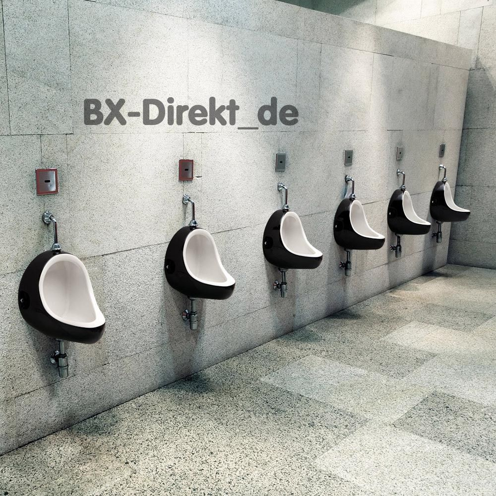 Designer Urinal Retro Pissoir Druckspuler Pinkelbecken Schwarz Gastro Pissbecken Bodegas