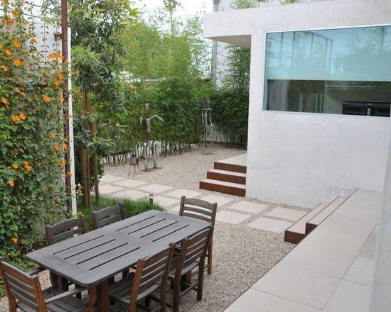 bambus sichtschutz essbereich freien schlingenpflanzen kies | Garten ...