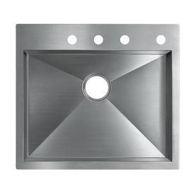 KOHLER Vault 25-in x 22-in Stainless Steel Single-Basin Drop-In 4-Hole Commercial Kitchen Sink
