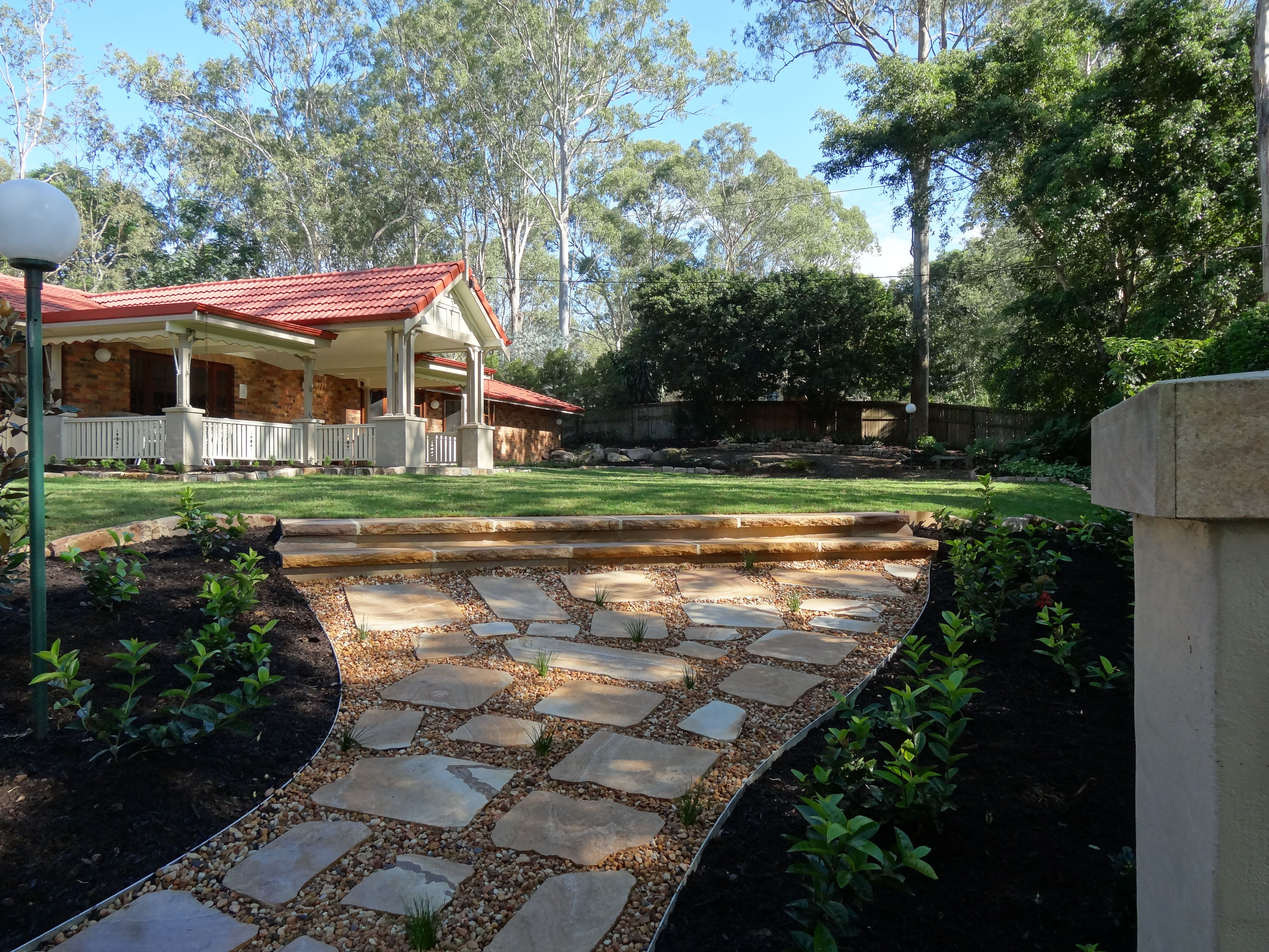 river rocks entry garden. Front Garden Entry Sandstone Steppers And Small Gauge River Rock Pebble Rocks A
