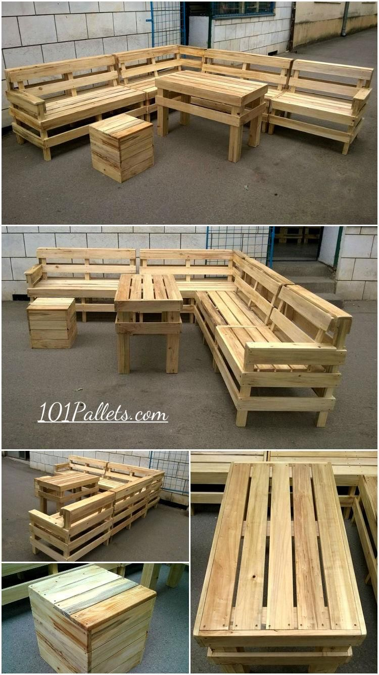 Diy Pallet Patio Or Outdoor Furniture Set 101pallets Pallet Diy Pallet Furniture Outdoor Wooden Pallet Furniture