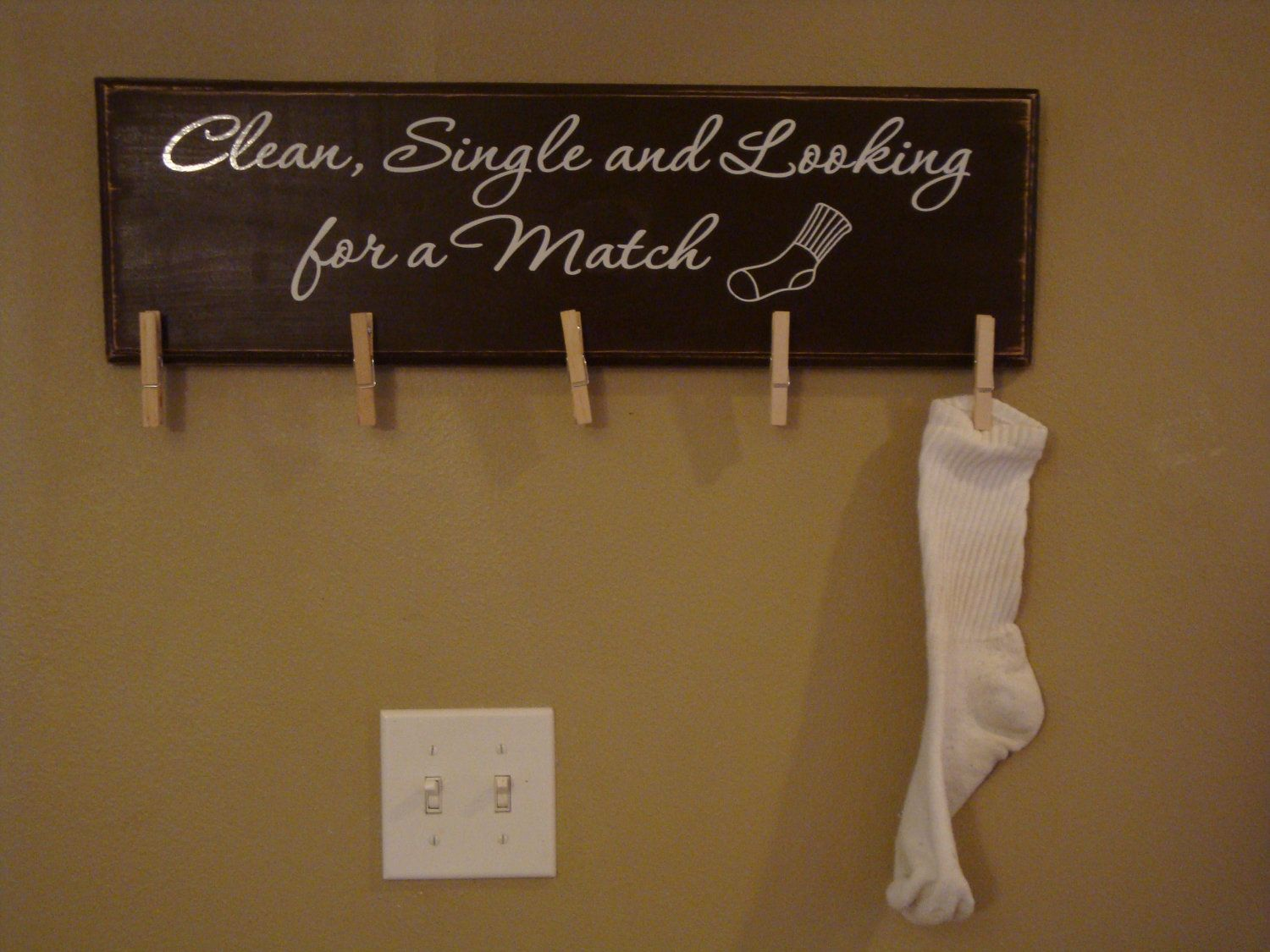Clean, Single and Looking for a Match sign. $30.00, via Etsy. Laundry Room  SignsLaundry DecorThe ...