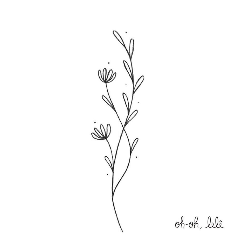 Little Branches With Flowers A Delicate Illustration Ilustracao