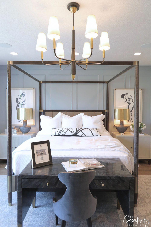 Blue gray master bedroom Sherwin Williams Stardew paint