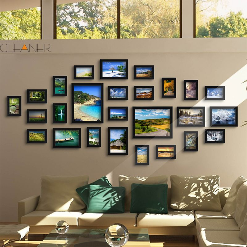 us black good wood wall frames per picture frame ideas 26 pcsset used for framed family baby love memory home photo frame set - Picture Frame Ideas