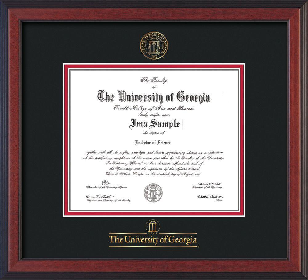 University of Georgia Diploma Frame - Cherry Reverse - w/Embossed ...