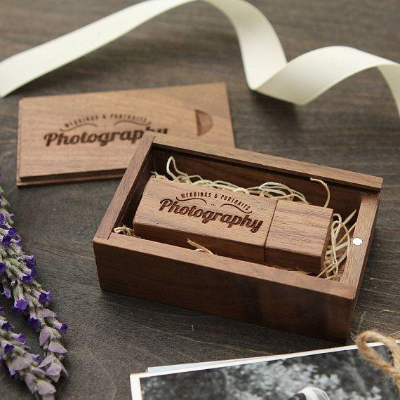 Walnut Wood USB Flash Drives Engraved Custom Wooden Box Photography Studio Gift