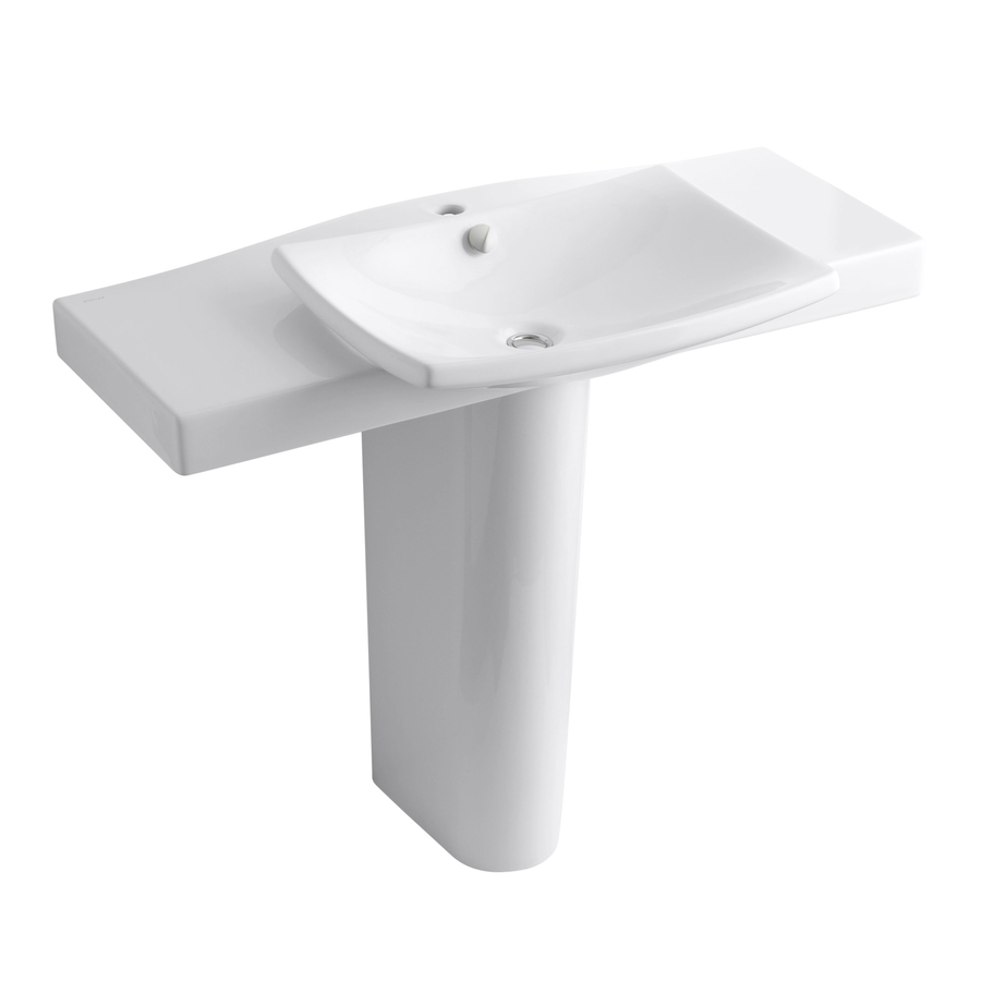 Shop Kohler 34 In H Escale White Fire Clay Complete Pedestal Sink