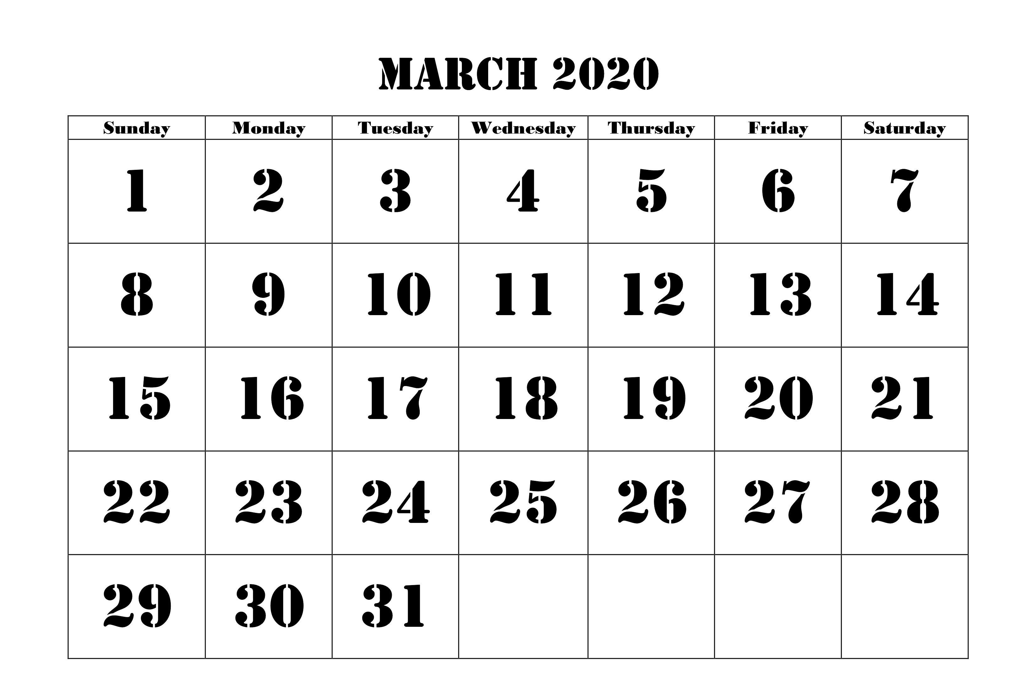 March 2020 Calendar Pdf Word Excel Printable Template Calendar