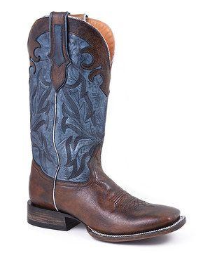 Antique Tan & Blue Cowboy Boot - Men by Stetson #zulily #zulilyfinds