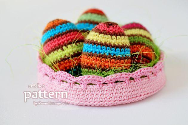 Crochet Pattern – Striped Easter Eggs In A Bowl | Crochet ...