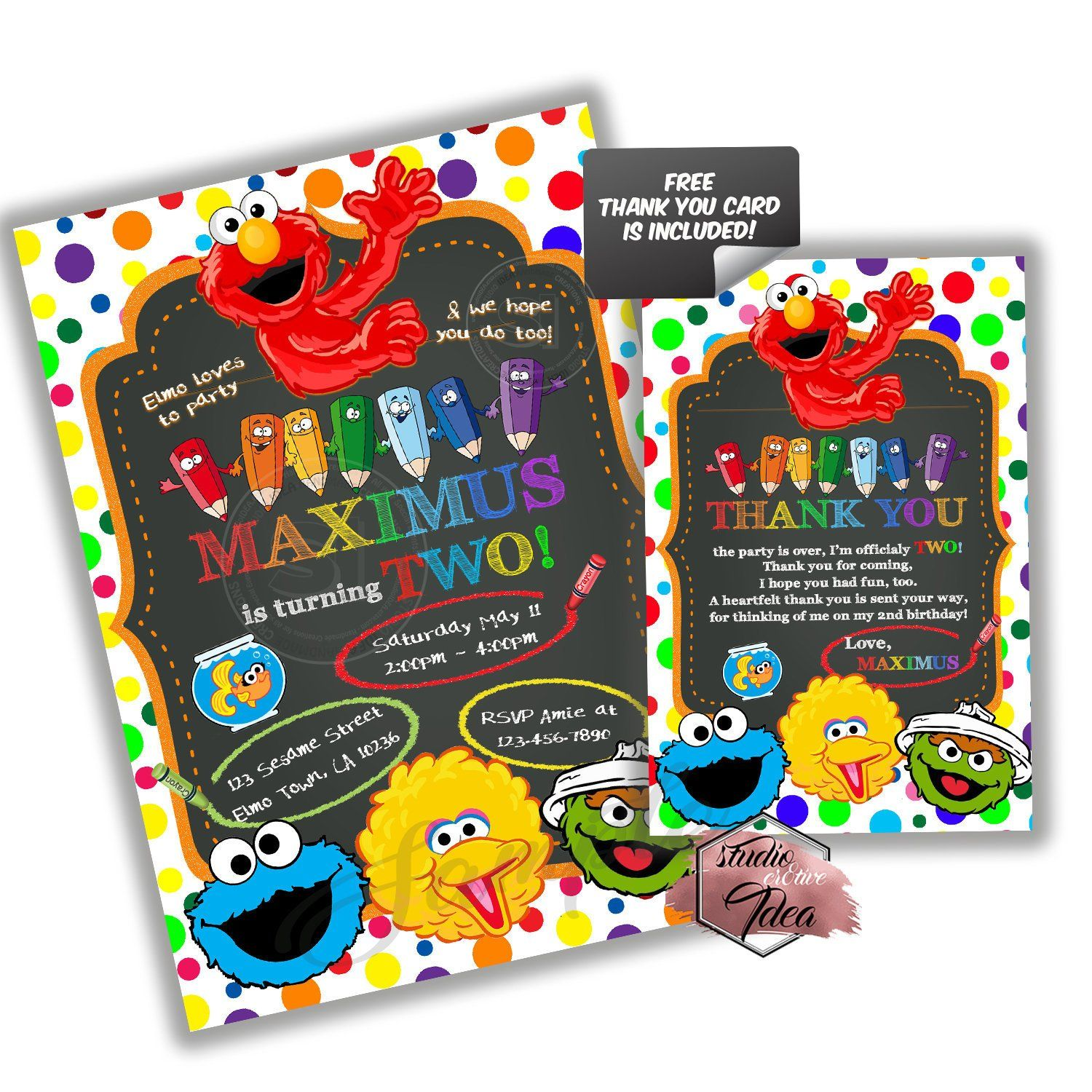 Custom Elmo Birthday Invitation With FREE Matching Thank You Card Printable And Friends Sesame Street Invitations Personalized