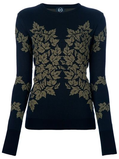 Black stretch-knit sweater from MCQ Alexander McQueen featuring a khaki leaf intarsia to the front and back, a round neck and full length sleeves. The sweater has full length sleeves and simply pulls on.