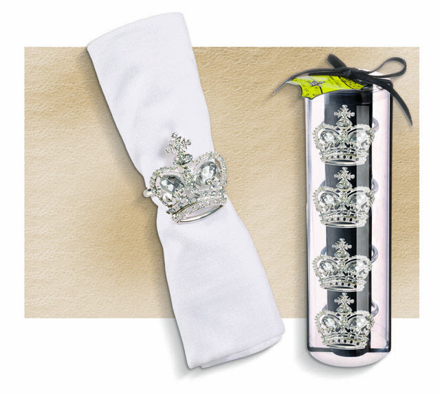 Your dinner guests will feel like Royalty with our gorgeous Crystal Crown Napkin Rings. Metal 2″ diameter napkin rings with clear crystal rhinestones. Set of 4..SKU: