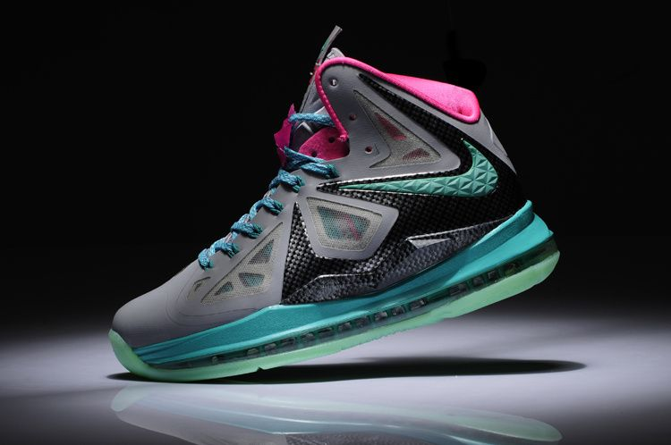Womens Lebron shoes 2013 Nike Lebron 10 South Beach Grey Black ThinkPink