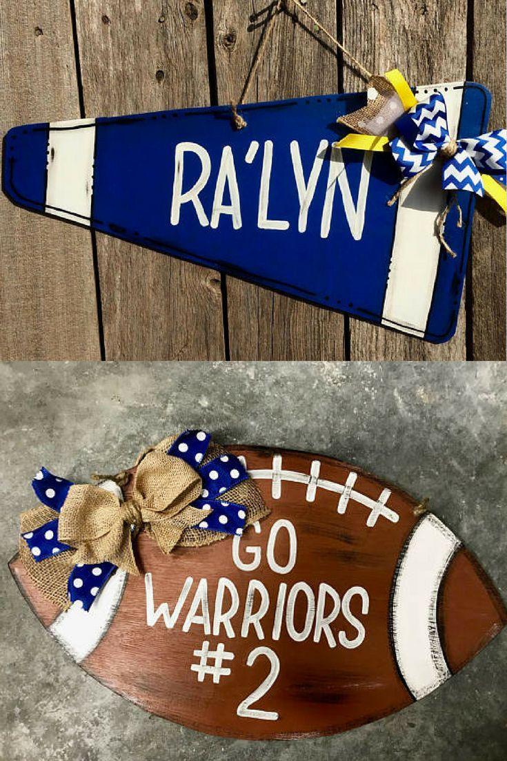 cheerleader door hanger - football door hanger - football sign ...