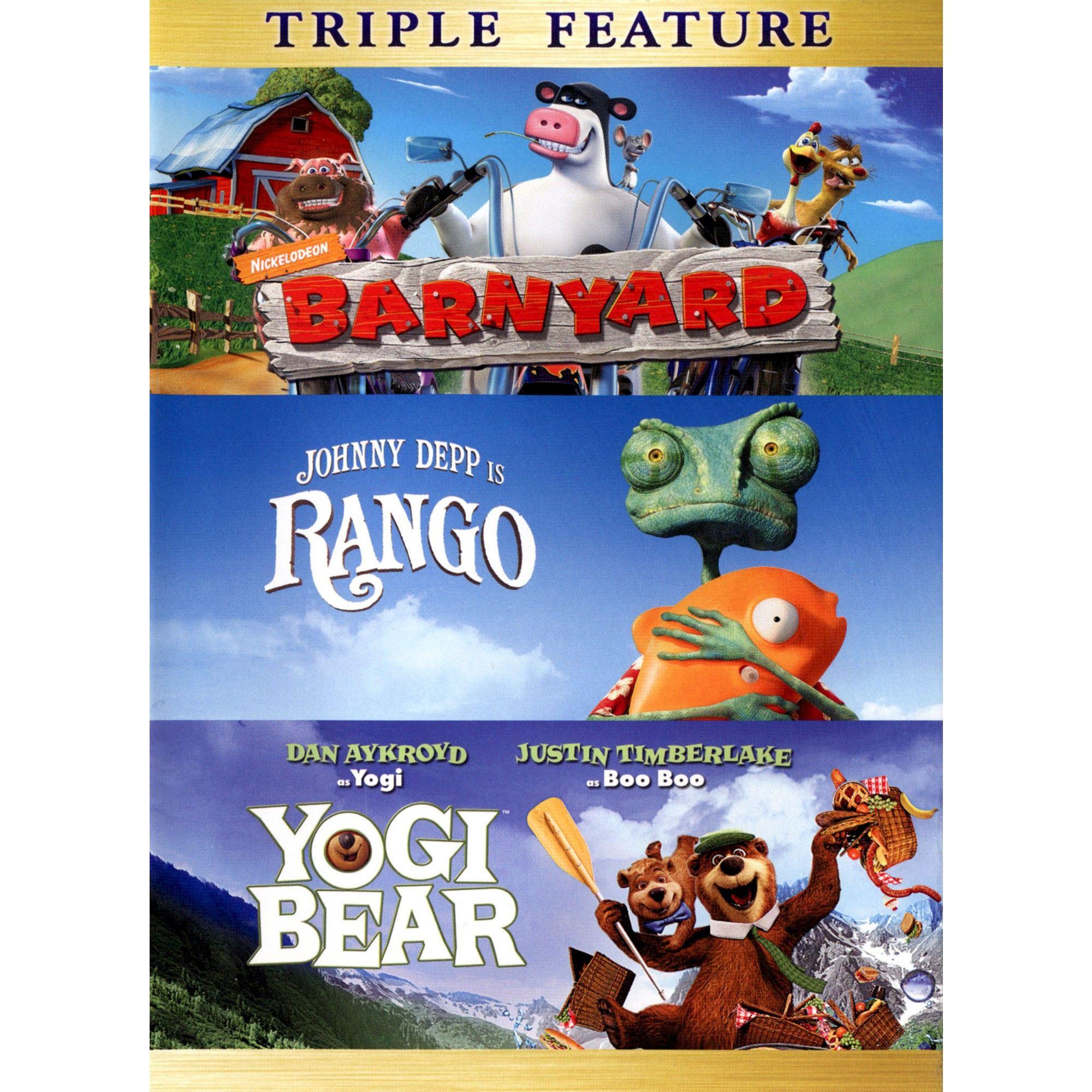 Barnyard Rango Yogi Bear 3 Discs Yogi Bear Bear Childrens Movies