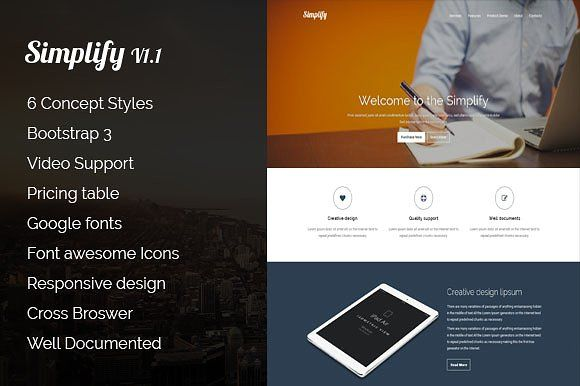 Simplify | Responsive landing page by SS-Creatives on