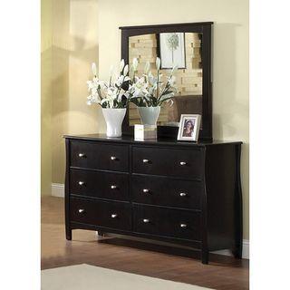 Furniture Of America Espresso Wood Dresser With Mirror (Espresso), Brown,  Size 6 Drawer