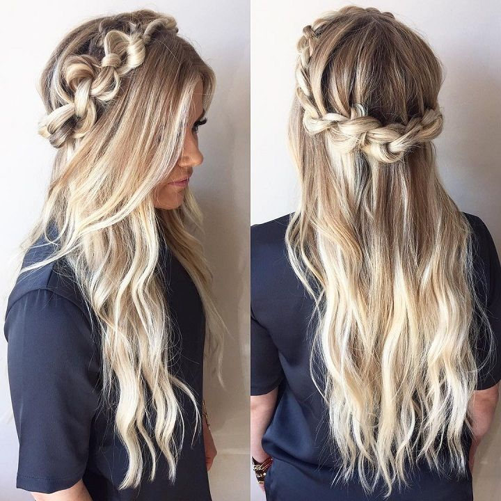 Knotted Crown Braid Hairstyle Inspiration Wedding Hairstyles Half Up Half Down Braided Crown Hairstyles Down Hairstyles