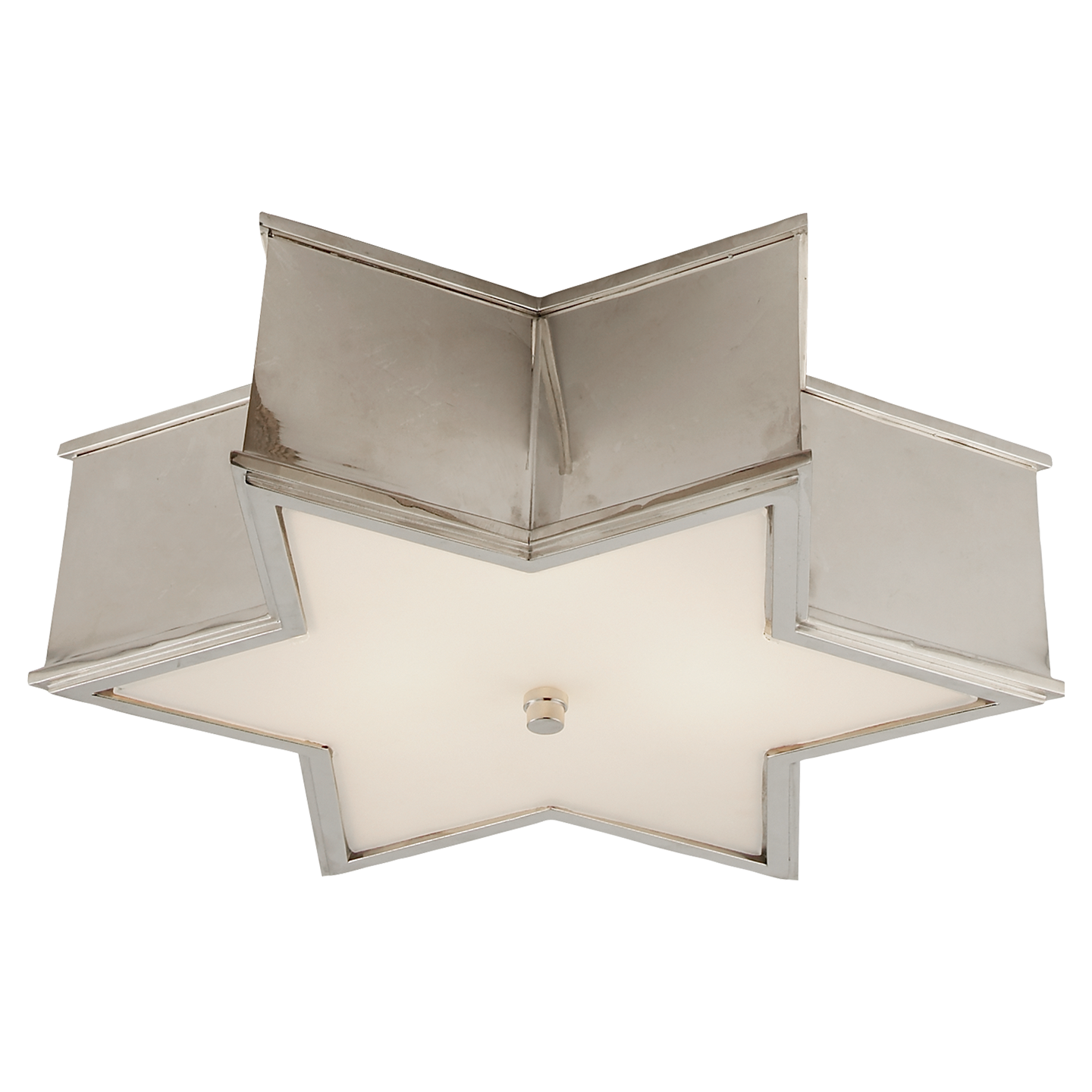 Sophia Large Flush Mount In Polished Nickel With Frosted